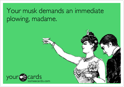 Your musk demands an immediate plowing, madame.