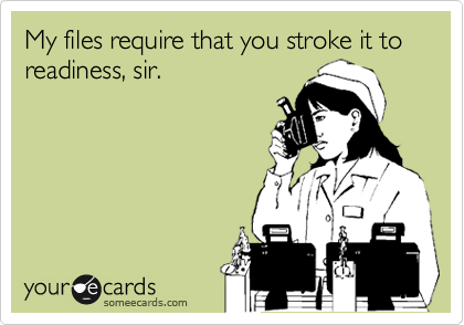My files require that you stroke it to readiness, sir.