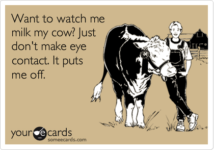 Want to watch me milk my cow? Just don't make eye contact. It puts me off.
