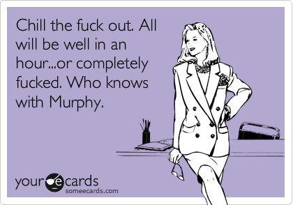 Chill the fuck out. All will be well in an hour...or completely fucked. Who knows with Murphy.