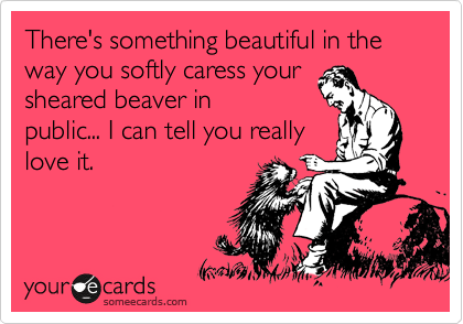There's something beautiful in the way you softly caress your sheared beaver in public... I can tell you really love it.