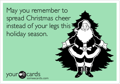 May you remember to spread Christmas cheer instead of your legs this holiday season.