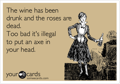 The wine has been drunk and the roses are dead. Too bad it's illegal to put an axe in  your head.