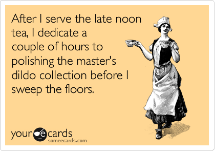 After I serve the late noon tea, I dedicate a couple of hours to polishing the master's dildo collection before I sweep the floors.