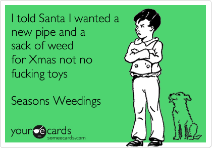 I told Santa I wanted a new pipe and a sack of weed for Xmas not no fucking toys  Seasons Weedings