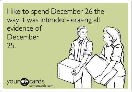 I like to spend December 26 the way it was intended- erasing all evidence of December 25.