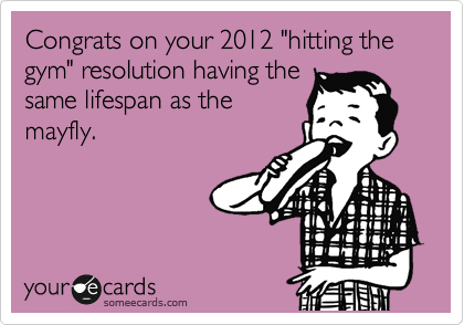 """Congrats on your 2012 """"hitting the gym"""" resolution having the same lifespan as the mayfly."""