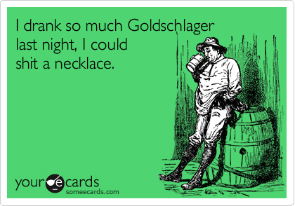 I drank so much Goldschlager last night, I could  shit a necklace.