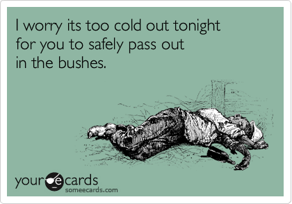 I worry its too cold out tonight for you to safely pass out in the bushes.