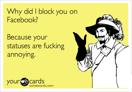Why did I block you on Facebook?   Because your statuses are fucking annoying.