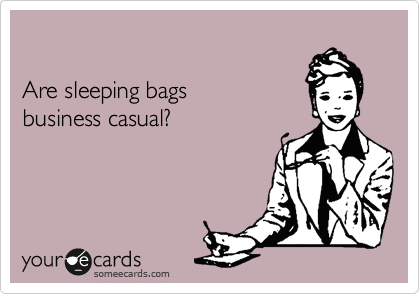 Are sleeping bags   business casual?