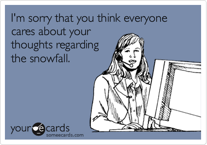 I'm sorry that you think everyone cares about your thoughts regarding the snowfall.