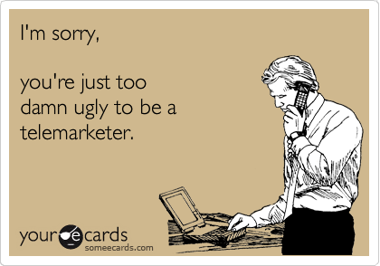 I'm sorry,  you're just too damn ugly to be a telemarketer.
