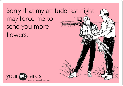 Sorry that my attitude last night may force me to send you more flowers.