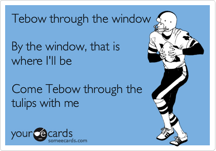 Tebow through the window  By the window, that is where I'll be  Come Tebow through the tulips with me