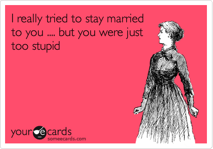 I really tried to stay married to you .... but you were just too stupid