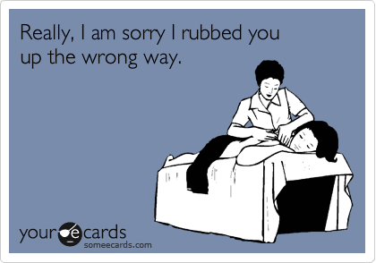 Really, I am sorry I rubbed you up the wrong way.