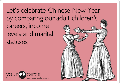 Let's celebrate Chinese New Year by comparing our adult children's careers, income levels and marital statuses.