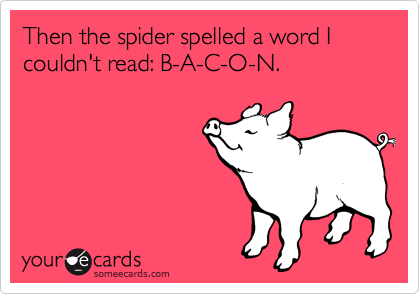 Then the spider spelled a word I couldn't read: B-A-C-O-N.