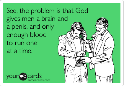See, the problem is that God  gives men a brain and  a penis, and only enough blood  to run one  at a time.