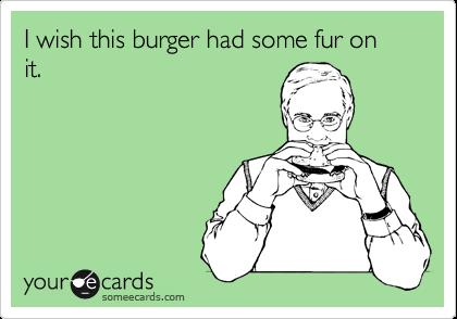 I wish this burger had some fur on it.