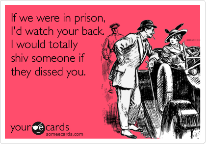 If we were in prison, I'd watch your back. I would totally shiv someone if they dissed you.