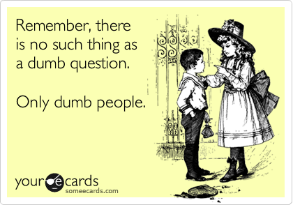 Remember, there is no such thing as a dumb question.  Only dumb people.