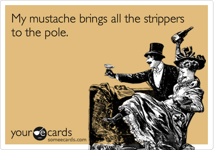 My mustache brings all the strippers to the pole.