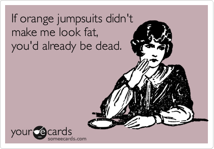 If orange jumpsuits didn't make me look fat,  you'd already be dead.