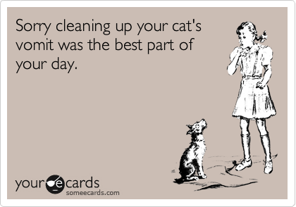 Sorry cleaning up your cat's vomit was the best part of your day.