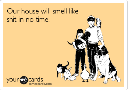 Our house will smell like shit in no time.