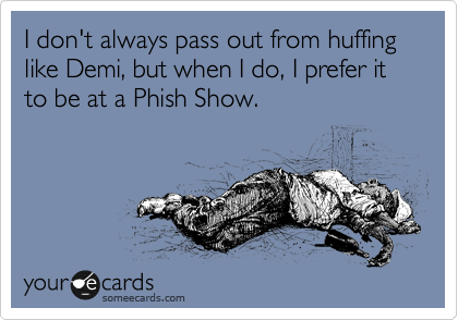 I don't always pass out from huffing like Demi, but when I do, I prefer it to be at a Phish Show.