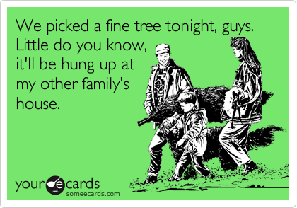 We picked a fine tree tonight, guys. Little do you know, it'll be hung up at my other family's house.