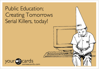 Public Education; Creating Tomorrows Serial Killers, today!