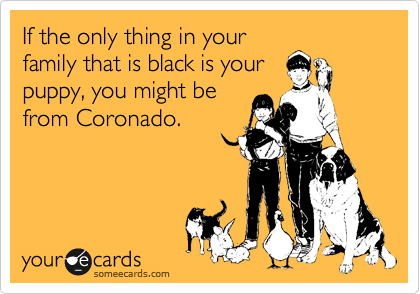 If the only thing in your family that is black is your puppy, you might be from Coronado.
