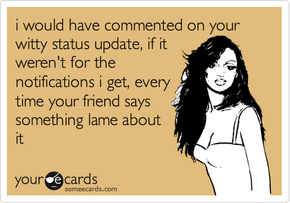i would have commented on your witty status update, if it weren't for the notifications i get, every time your friend says something lame about it