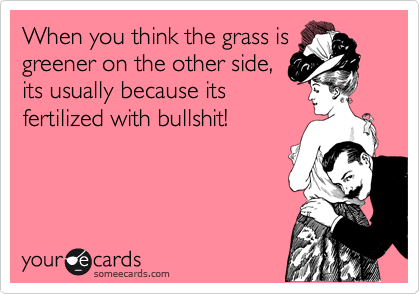 When you think the grass is greener on the other side, its usually because its fertilized with bullshit!