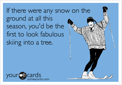 If there were any snow on the ground at all this season, you'd be the first to look fabulous skiing into a tree.