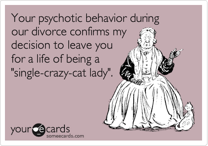 """Your psychotic behavior during  our divorce confirms my decision to leave you for a life of being a """"single-crazy-cat lady""""."""
