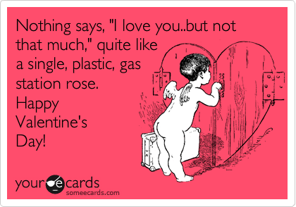 """Nothing says, """"I love you..but not that much,"""" quite like a single, plastic, gas station rose. Happy  Valentine's Day!"""