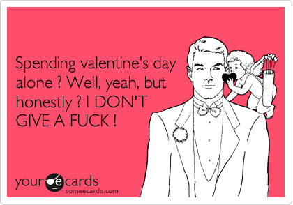 Spending valentine's day alone ? Well, yeah, but honestly ? I DON'T GIVE A FUCK !