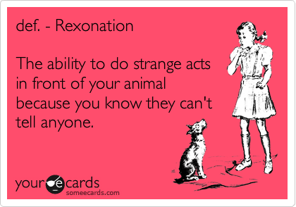 def. - Rexonation  The ability to do strange acts in front of your animal because you know they can't tell anyone.
