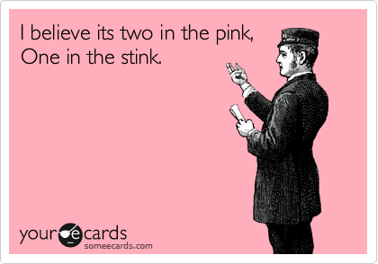 I believe its two in the pink, One in the stink.