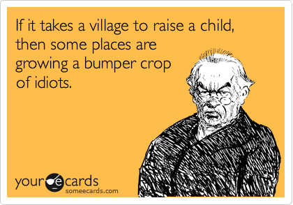 If it takes a village to raise a child, then some places are growing a bumper crop of idiots.