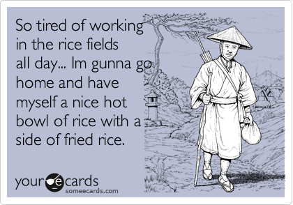 So tired of working  in the rice fields all day... Im gunna go home and have myself a nice hot bowl of rice with a  side of fried rice.