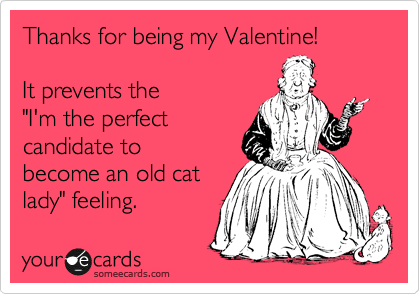 "Thanks for being my Valentine!  It prevents the ""I'm the perfect candidate to become an old cat lady"" feeling."