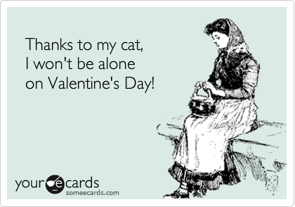Thanks to my cat,   I won't be alone   on Valentine's Day!