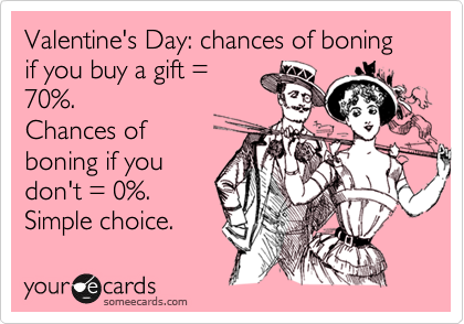 Valentine's Day: chances of boning if you buy a gift = 70%. Chances of  boning if you don't = 0%.   Simple choice.