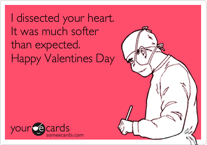 I dissected your heart. It was much softer than expected. Happy Valentines Day
