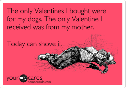 The only Valentines I bought were for my dogs. The only Valentine I received was from my mother.      Today can shove it.